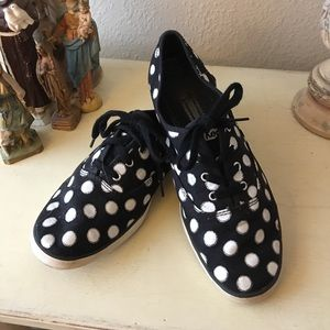 Keds Black with White Polka Dots.